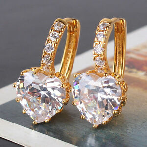 Details About NEW 18CT Gold Heart Earrings For Mum Sister Birthday Gift Occasion Gf
