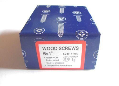 200 x 6 x 1  Hard Zinc CSK pozi wood screws