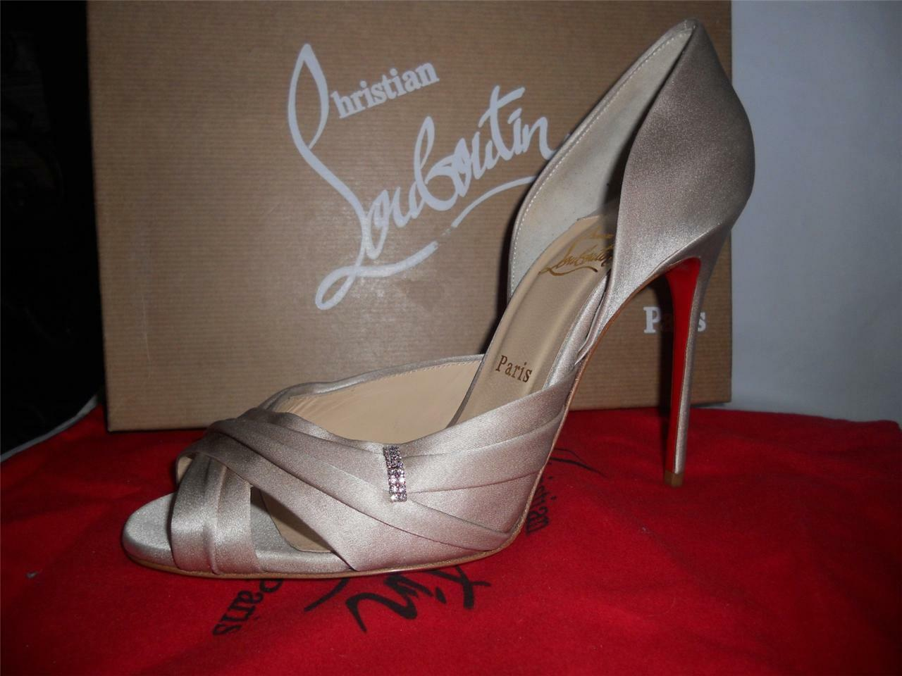 Christian Louboutin TRES OPHRAH Pearl Satin Jewel Crystal Heels Pump chaussures  795