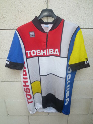 Maillot cycliste TOSHIBA vintage LOOK Tour de France 1988 Madiot maglia shirt XL