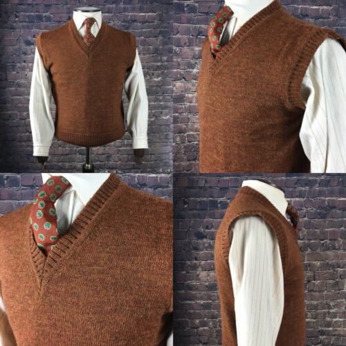 1940s Pattern mens Knitted Tanktop British Wool Brown 2XL 46//48 Chest