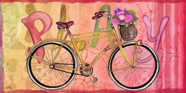 Elizabeth Medley  Sing and Play Bike II Keilrahmen-Bild Leinwand Fahrrad Hippie