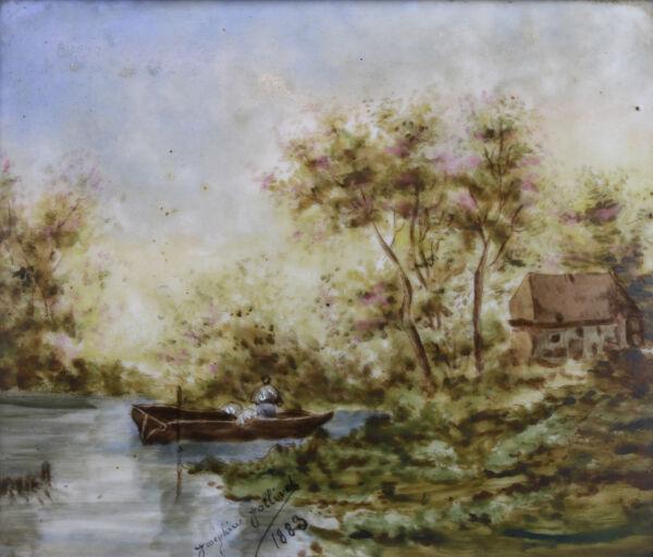 100% Vrai Paysage à La Barque Peinture Sur Porcelaine 1883 Entourage école De Barbizon AgréAble à GoûTer