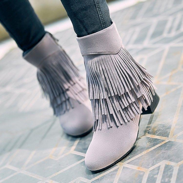 Womens Side Zip Block Heel Tassel Ankle Boots shoes Fur Lining shoes Winter V959