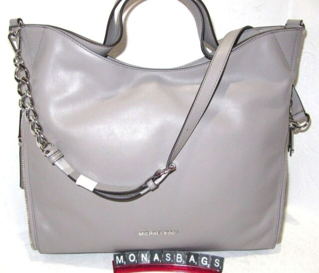Michael Kors Devon Large Shoulder Tote Bag Pearl Grey Leather Authentic Nwt 398