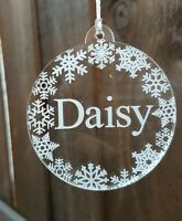 Hand made engraved acrylic snowflake personalised bauble christmas decoration