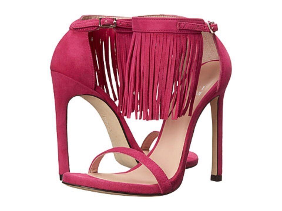 455 NEW Stuart Weitzman Lovefringe Pink Suede Sandals   4.5 High Heels Shoes