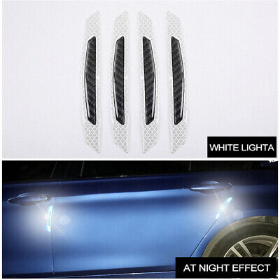 4x White Reflective Car Door Edge Protector anti-collision Sticker Carbon Fiber