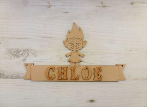 Name Plaque TROLL GIRL door sign personalised trolls MDF Wooden