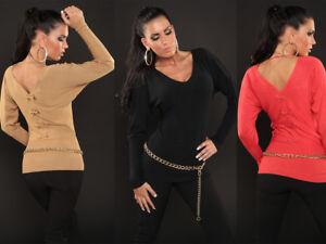 Sexy-Maglia-DONNA-Maglietta-T-shirt-elegante-pullover-con-fiocco-moda-inverno
