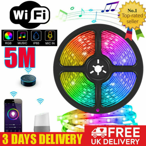5M LED Strip Lights Smart WiFi Waterproof Strip Light 5050 RGB APP Controll Best