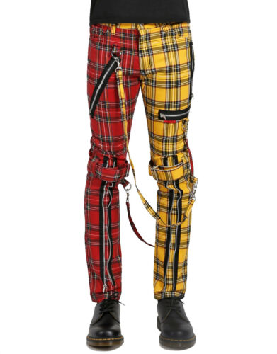 Bondage Tripp Straps Gothic Ebm Jeans Is103mp Punk Splitlegering Cyber Plaid Broek Aj354RLq