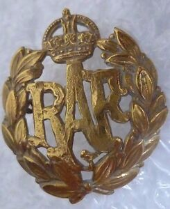 WWI-RAF-Badge-Royal-Air-Force-Cap-Badge-KC-BRASS-Super-Antique-Genuine