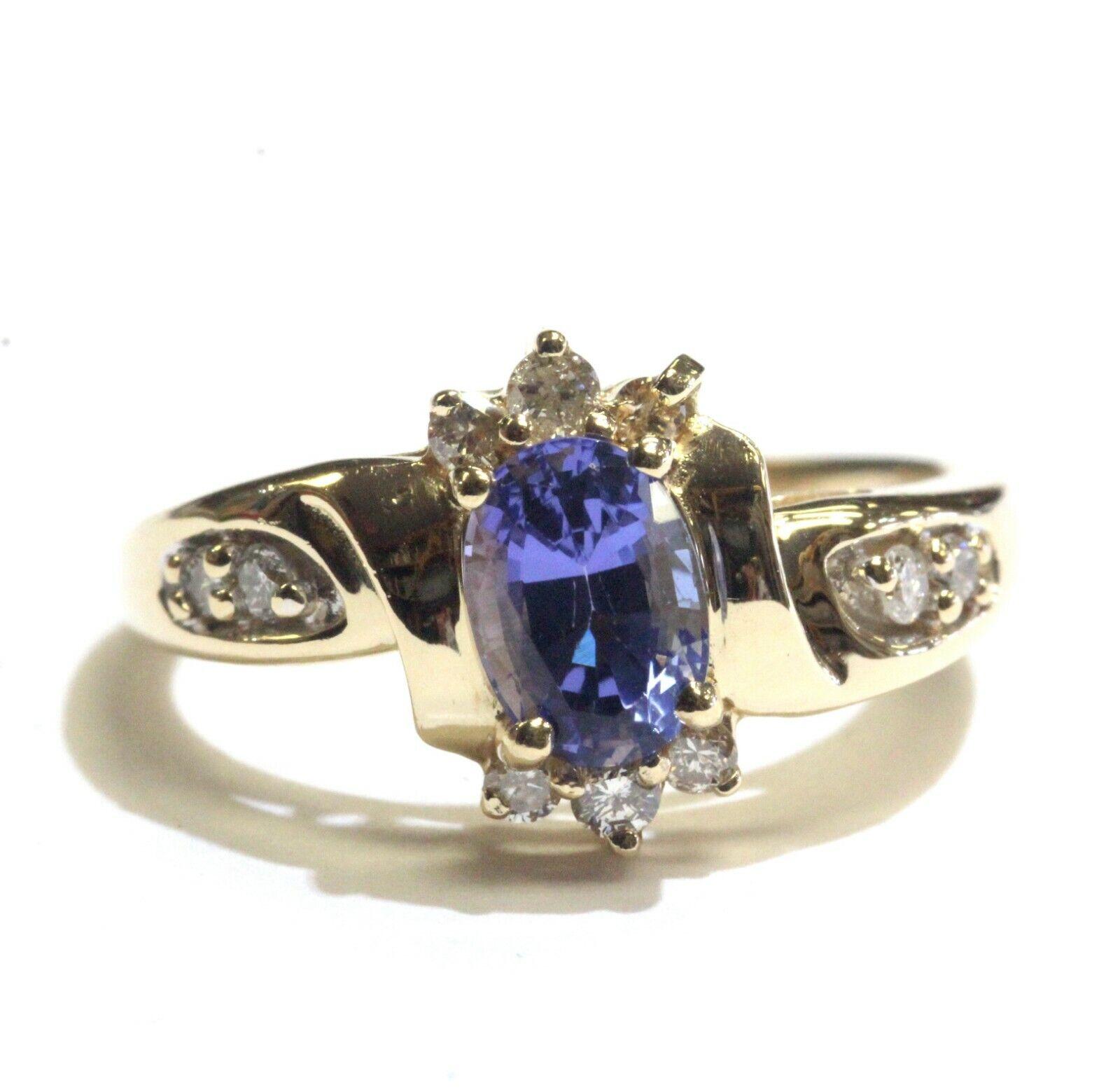 14k yellow gold .19ct SI3 H diamond tanzanite cluster ring 4.1g womens ladies