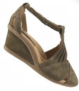 30b2e4a2eebf Earth Curvet Wide Wedge Sandals - Dark Khaki Suede Peep Toe Heels ...
