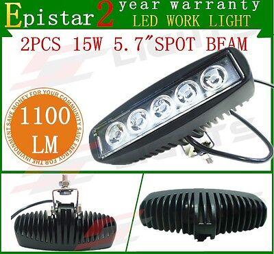 2pcs 15W LED Work Light Bar Spot Beam Off-roads Driving Bar Fog UTE 12V/24V 4WD
