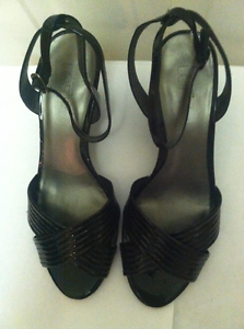 Ann Taylo Loft, black wedges, leather size- 61/2, , leather wedges, 417ad7