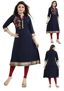 Women-Indian-Top-Kurti-Tunic-Kurta-Shirt-Dress-Blue-Embroidery-A-Line-MM-230