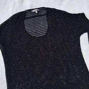 Jennifer-Lopez-Blouse-Women-039-s-size-XL-Black-Shimmer-Long-Sleeve-Top-Sheer-F25