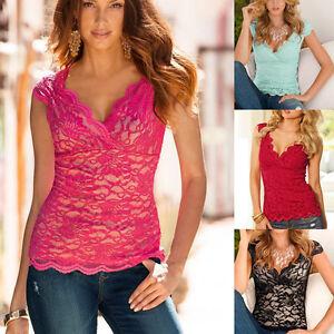 Women-Summer-Blouse-V-Neck-Lace-Casual-Sleeveless-Vest-Shirt-Tank-Tops