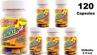 Stacker 2 100 Diet & Energy 20ct Bottle (lot Of 5 X) + Free (1) = 120 Capsules