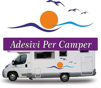 2 Kit Adesivi Grandi Per Camper - Onde Soli E Gabbiani - Aufkleber Stikers