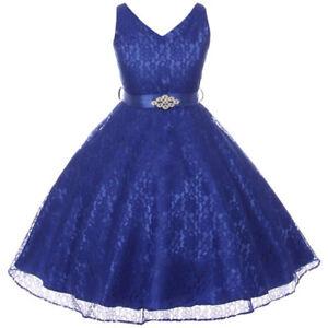 Bleu Royal Dentelle Fleur Fille Robe De Danse Mariage Fête Anniversaire Robe Considérant Prom-afficher Le Titre D'origine Ventes Bon Marché