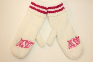 SASKATCHEWAN-ROUGHRIDERS-WHITE-AND-PINK-MITTENS-ADULT-SIZE-NEW