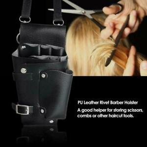 Friseur-Holster-PU-Ledertasche-Halter-Niet-Haar-Schere-Taschen-Clips-Taille-B1E8