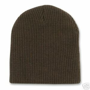 bb70736c7f0 BROWN KNIT SHORT WATCH CAP SKI BEANIE SKULL CAPS HAT 688295060239