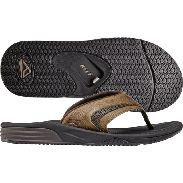 79e5cf2a523f REEF Phantom Player Leather Brown New Surfer Sandals Flips Dude Bottle  Opener