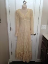 Vintage 70s Gunne Sax Dress Wedding Floral Lace Boho Small