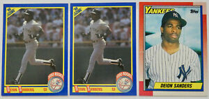 1990 SCORE / TOPPS BASEBALL Deion Sanders 3x Rookie Card RC Lot NM Yankees MLB