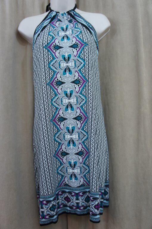 Studio M Kleid Größe L Schwarz Blau Mehrfarbig Kombination Nackenband Freizeit
