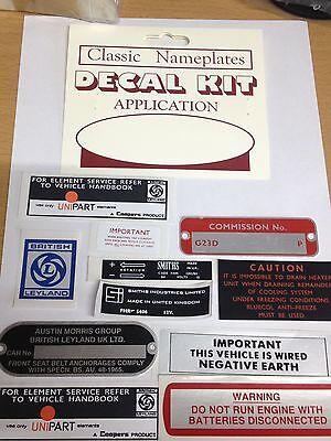 MG MGB GT DECAL SET + CHASSIS PLATE KIT 1972 -1975 MGK2011 Logo