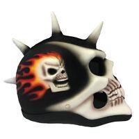Spiney Skull Black Motorcycle Helmet Skeleton Matte Airbrushed Novelty Biker +