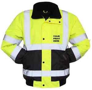 Personalized Hi Vis Visibility Viz Safety Work Bomber Jacket Waterproof