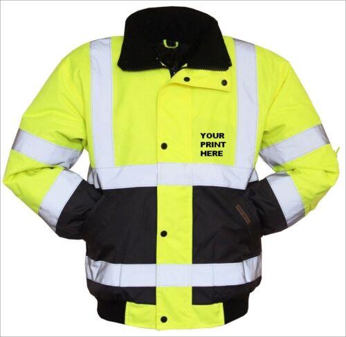 Personalized Hi Vis Visibility Viz Safety Work Bomber Jacket Waterproof2 Tone