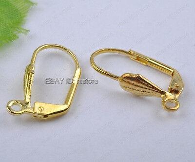 50Pcs gold plated France flower copper Earring Hooks DIY Findings 12x19mm