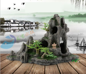 Mountain-Aquarium-Ornament-decoration-Hiding-stone-Crayfish-Rockery-Rock-Cave