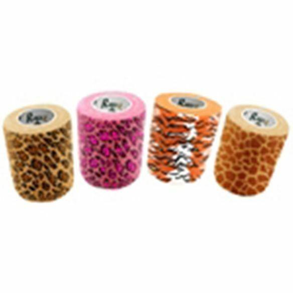 "Vet Supply Rapz Easy Tear Exotic 12 Pack 4"" x5.5yd Pink Leopard Tiger Giraffe"