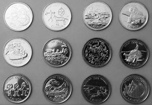 Uncirculated-1999-Canada-25c-quarter-MILLENNIUM-12-coins-complete-Set-Collection