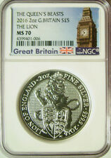2016 Great Britain Queens Beast £5 Silver 2 Oz The Lion  NGC MS 70  RARE!