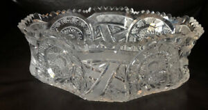 Vintage-American-Brilliant-Crystal-Extra-Large-Centerpiece-Bowl-Stunning-Heavy