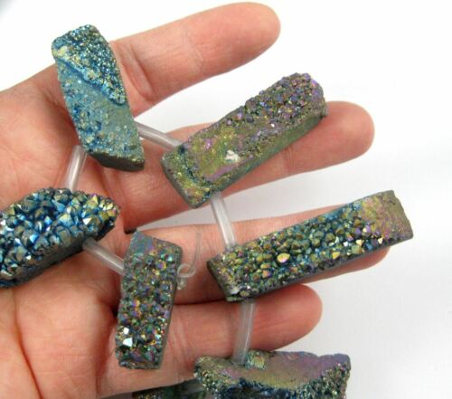 Natural Raw Titanium Crystal Druzy Gemstone Organic Druzy Drusy Strand
