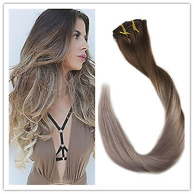 Full Shine Clip Hair Extension 50g Brown to Ash Blonde Ombre Balayage Human  Hair