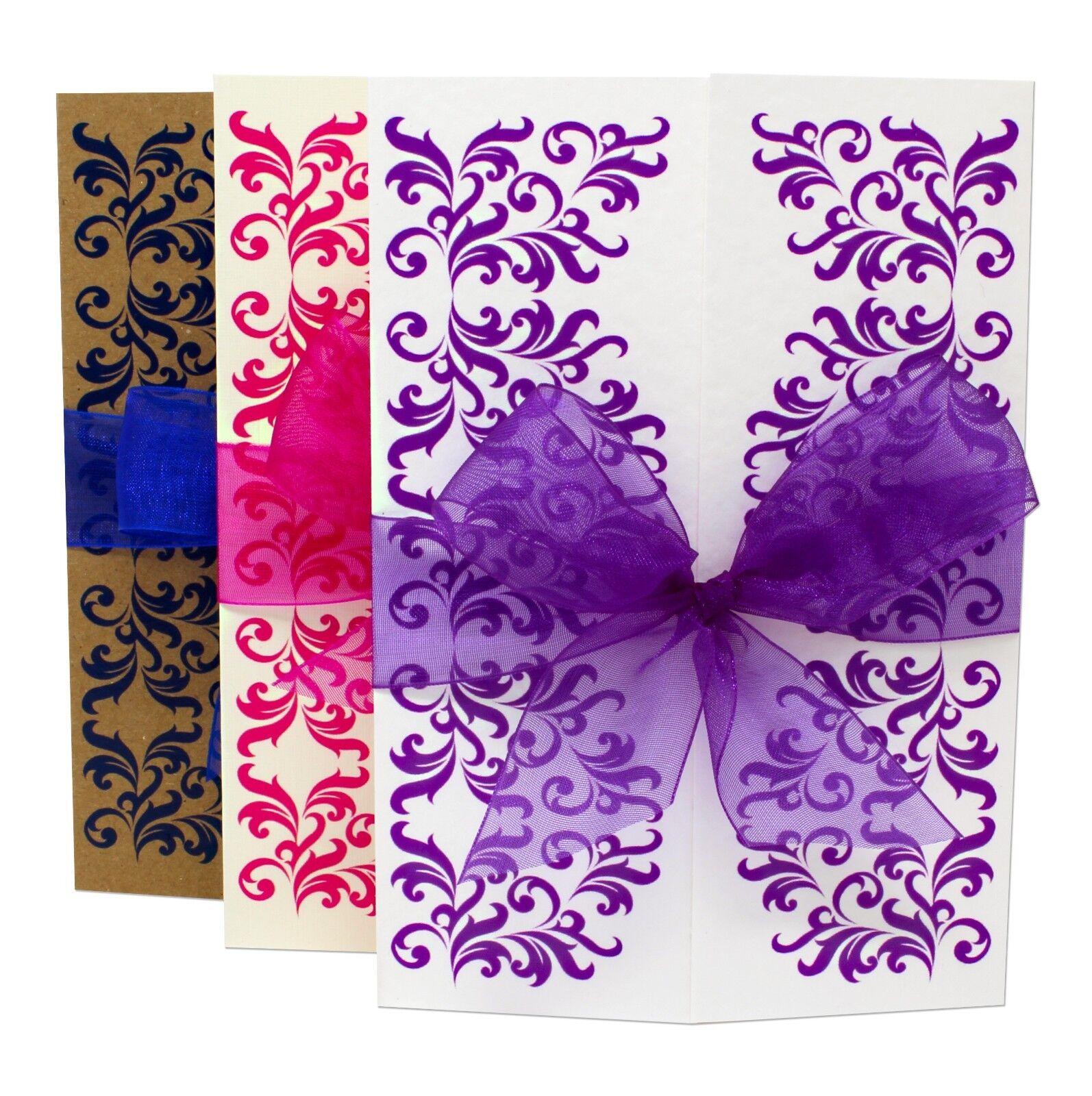 Personalised handmade gatefold mariage soirée invitations avec enveloppes