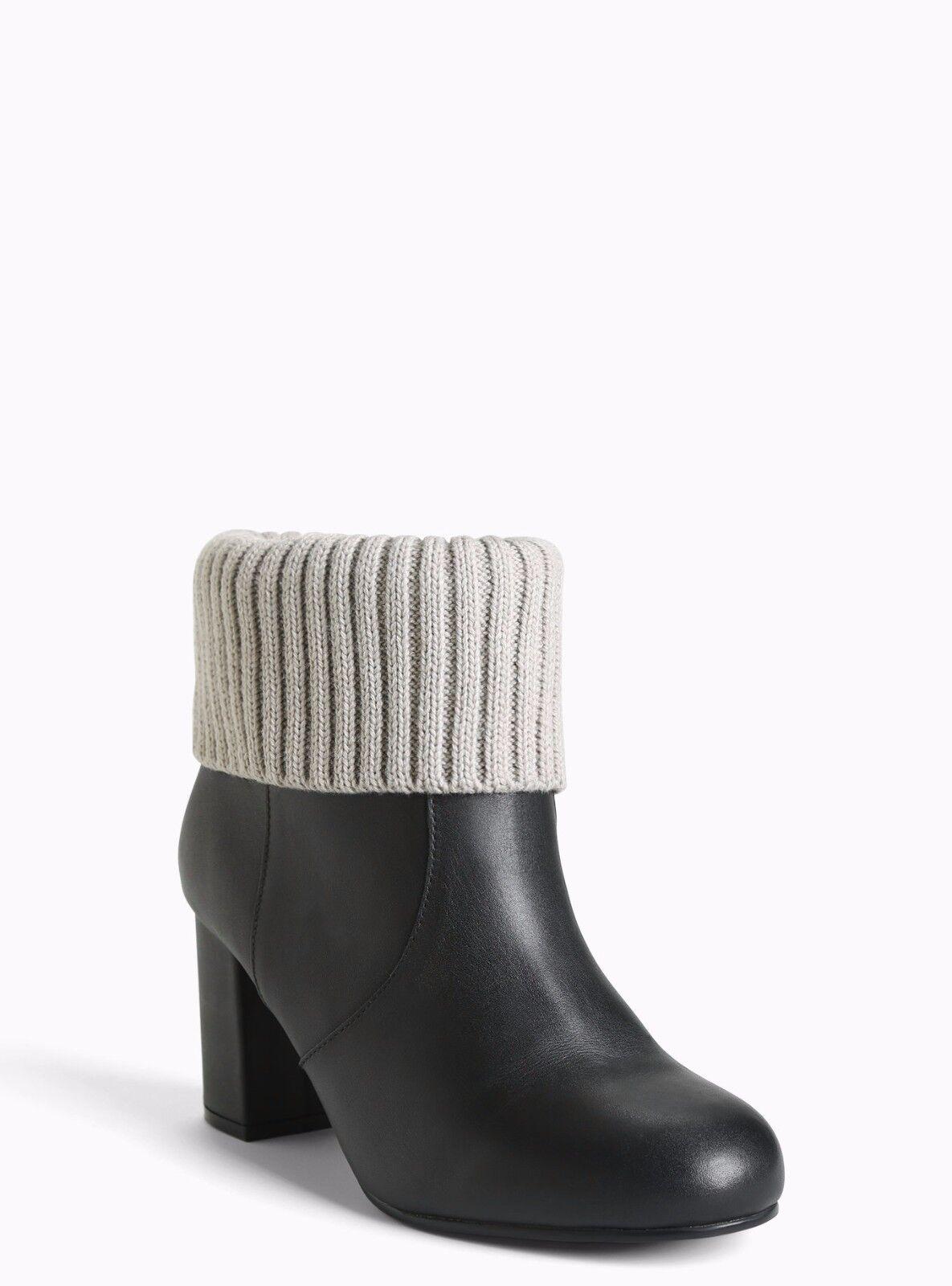 Torrid Genuine Leather Sweater Knit Top Booties wide width Black 9.5  47862