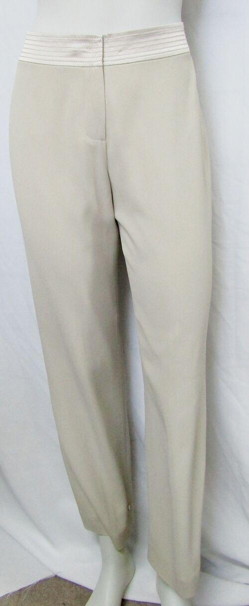 NEW ST.JOHN COUTURE 04 SMALL PANTS AQUATIC BEIGE STRAIGHT LEG HIGH WAIST BELTED