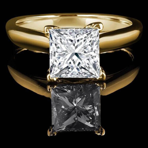 1.50 ct BRILLIANT Princess CUT SOLITAIRE ENGAGEMENT RING REAL 14K Yellow GOLD